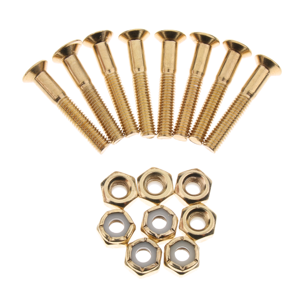 Mounting Screws and Nuts for Longboards Scooters Cruisers Accessories Perfeclan Skateboard Hardware Set with Rubber Riser Pads