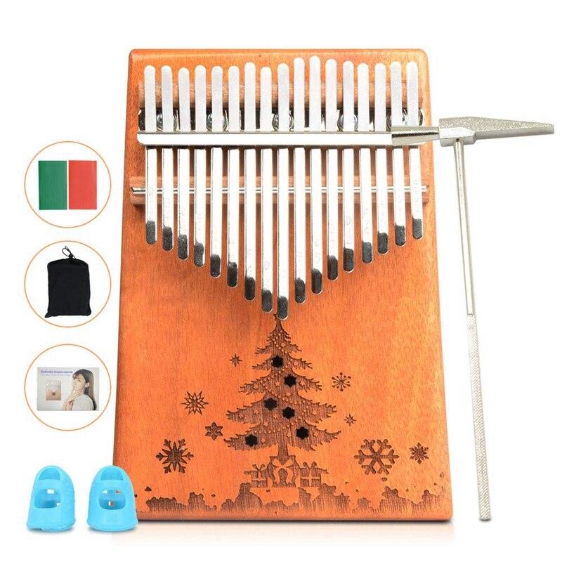 17 Clave Kalimba Thumb Piano Madera Maciza De Caoba Cuerpo Instrumento De Teclado (de Madera (árbol) Beneficioso Para El Esperma