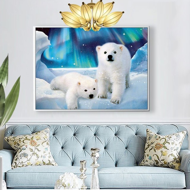 Huacan 5d Diamond Painting Polar Bear Diamond Embroidery Animal Full Square Picture Mosaic Rhinestone Home Decoration