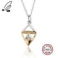 fe2b3e3cb73a 100 925 Sterling Silver Necklace Gold Colour Clean Zircon Pendant Necklace  For Women Mens Fine Jewelry