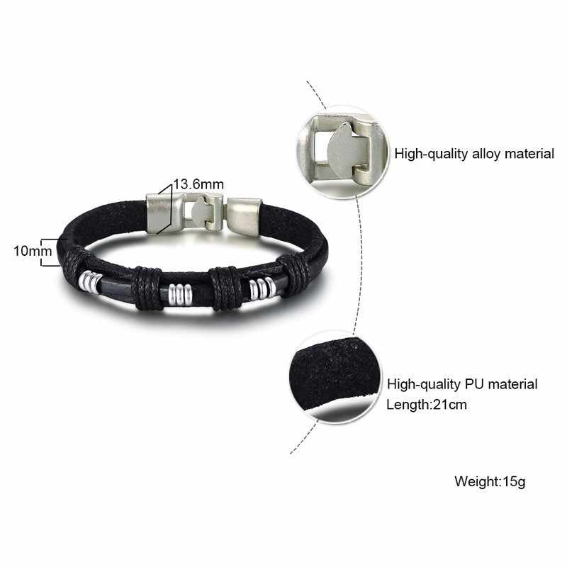 Vantage Black Men Leather Bracelet Rope Chain With Small Circle Accessories Casual Male Bestfriend Gifts