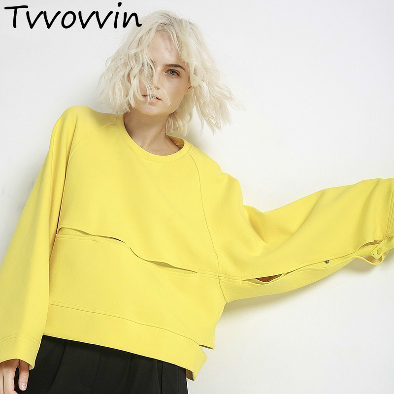 TVVOVVIN 2019 New Autumn Winter Round Neck Long Sleeve Yellow Hollow Out Stitching Big Size Sweatshirt