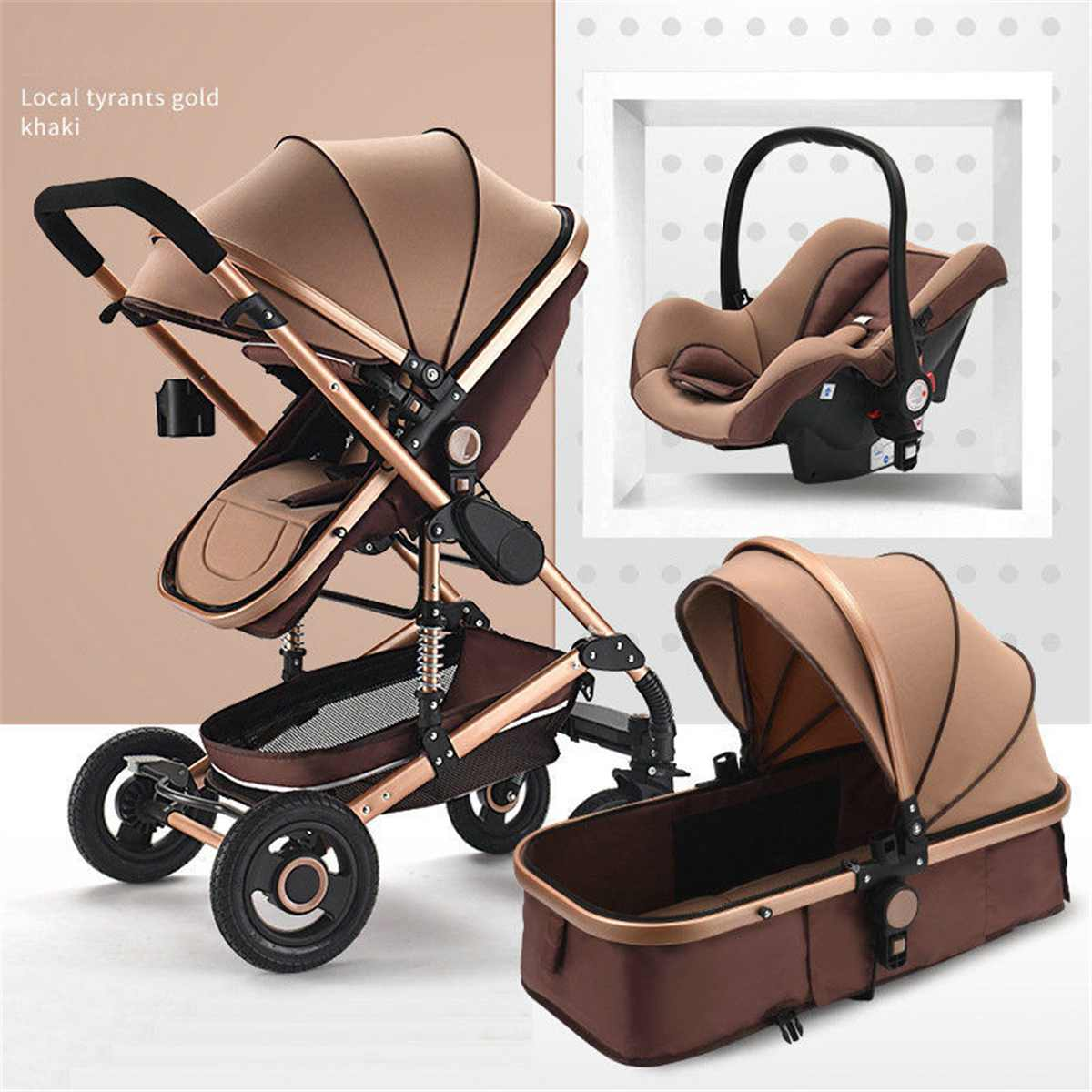 3 In 1 Baby Stroller Bassinet Car Safety Seat Foldable Carriage Pushchair Lying Sleeping Basket Highview Pram 0-4 year 4 Seasons