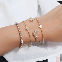 Silikolove 4pcs/set Bracelets Handmade Women Accessories Minimalist Female Personality Moon Star Pattern  Bangles