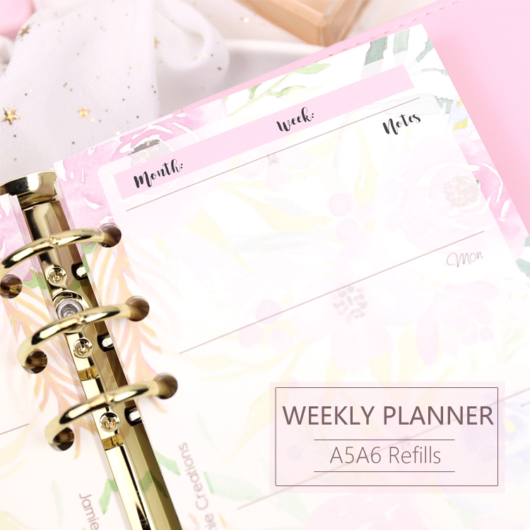 MyPretties Floral Weekly Planner Refill Papers 40 Sheets A5 A6 Filler Papers For 6 Hole Binder Organizer Notebook Papers