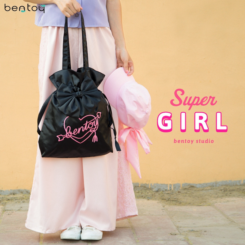 Bentoy Lovely Bowknot Women Shoulder Bag Fabric Female Tote handbag Harajuku Letters Shopping Bag Clutch Purse Feminina Blosa bentoy summer women bags designer transparent day clutch pvc handbag totes casual female hand bag feminina blosa ladies bag