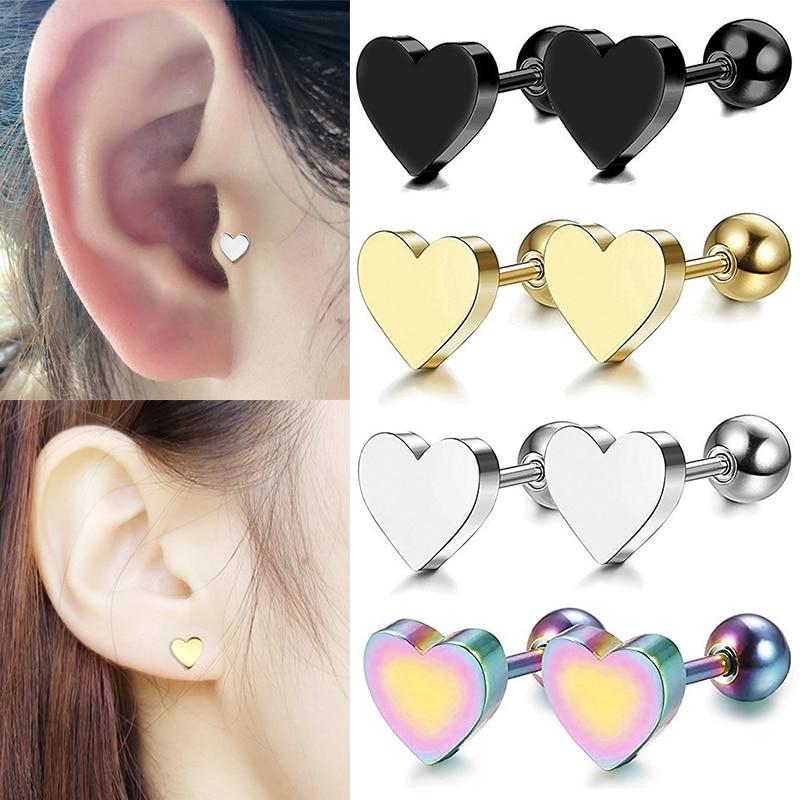Earrings Piercing Ear-Studs Hot-Jewelry Tragus Heart-Shape Cartilage Helix 2pcs