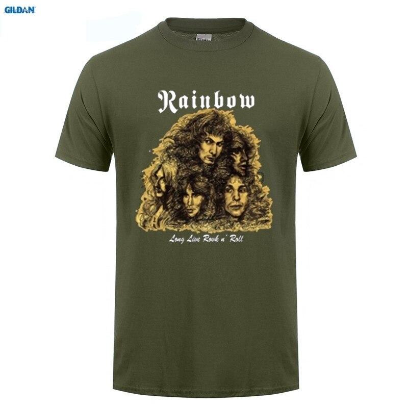 GILDAN  New Rainbow Long Live Rock n Roll Metal Band Mens Black T-Shirt Size Men Cotton Printed T Shirt