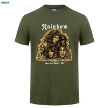 лучшая цена GILDAN  New Rainbow Long Live Rock n Roll Metal Band Men's Black T-Shirt Size Men Cotton T-Shirt Printed T Shirt