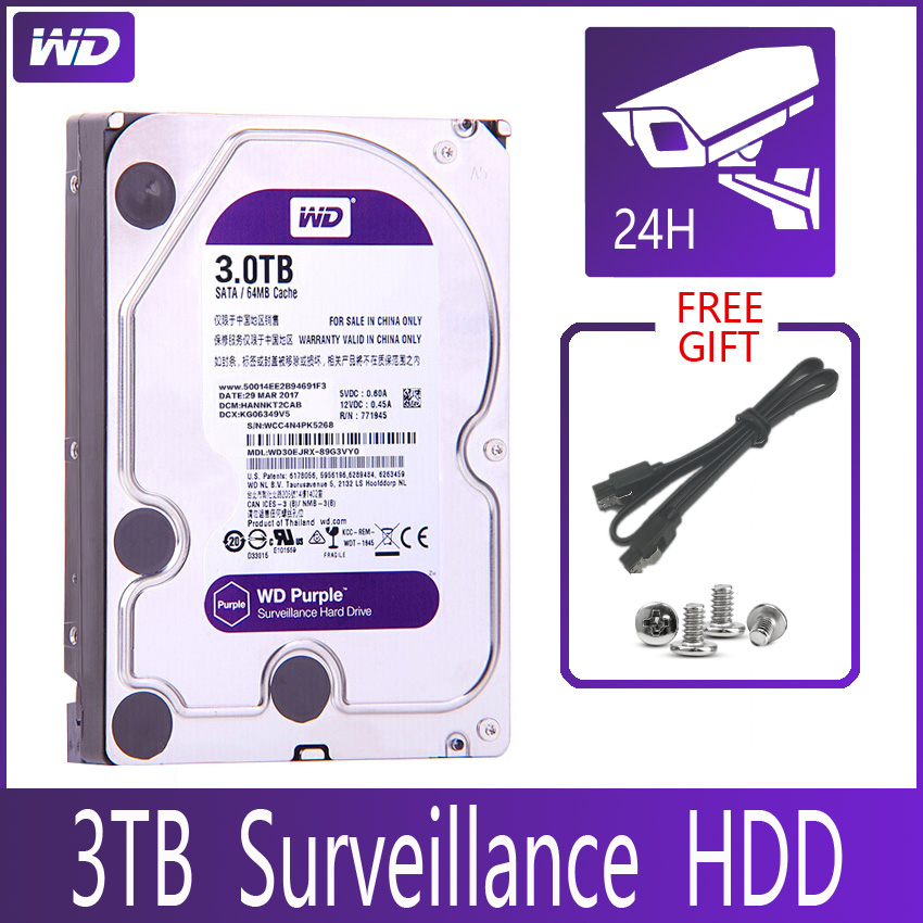 Диск Жесткий WD PURPLE для системы видеонаблюдения, 3 ТБ, SATA III, 64 м, 3,5 дюйма
