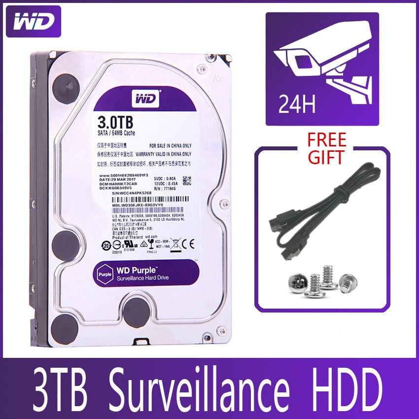 """Wd roxa vigilância 3 tb disco rígido sata iii 64 m 3.5 """"hdd hd disco rígido para sistema de segurança gravador de vídeo dvr nvr cctv"""