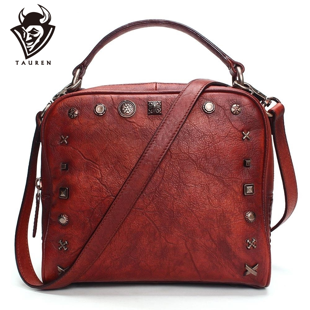 e6a556665d32 2019 винтажные кожаные сумки через плечо для женщин сумки-мессенджеры  женские знаменитые брендовые Сумочки Заклепки маленькие сумки на плеч.