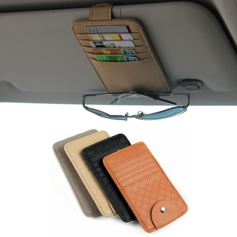 Car Auto Sun Visor Point Pocket Organizer Pouch Bag Card Glasses Storage Holder Car-styling