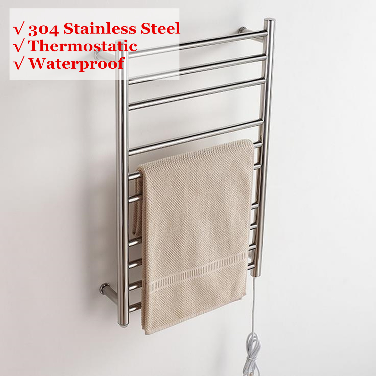 88W Electric Heated Wall Mounted Towel Warmer Home Bathroom Accessories Towel Dryer Racks Heated Towel Rail Stainless Steel88W Electric Heated Wall Mounted Towel Warmer Home Bathroom Accessories Towel Dryer Racks Heated Towel Rail Stainless Steel