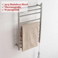 88W Electric Heated Wall Mounted Towel Warmer Home Bathroom Accessories Towel Dryer Racks Heated Towel Rail Stainless Steel