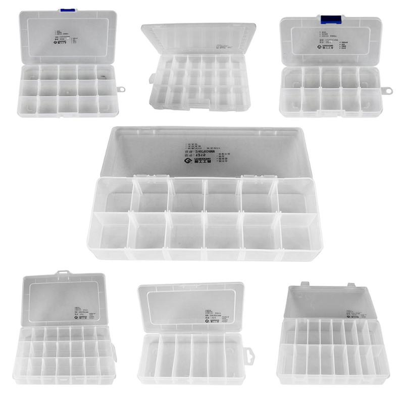 Adjustable Transparent Plastic Storage Box For Small Component Jewelry Tool Box Bead Pills Organizer Nail Art Tip Case