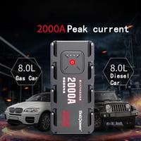 2000A пиковый автомобильный прыжок стартер Пакет светодио дный портативный светодиодный фонарик power Bank Авто батарея питание телефон мощность