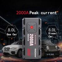 2000A пик автомобиля пусковое устройство, КАРБЮРАТОР Портативный светодиодный фонарик Мощность Bank Авто Батарея поставки телефона Мощность з