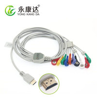 Compatible with Biox 10 lead holter ecg cable AHA snap free shipping