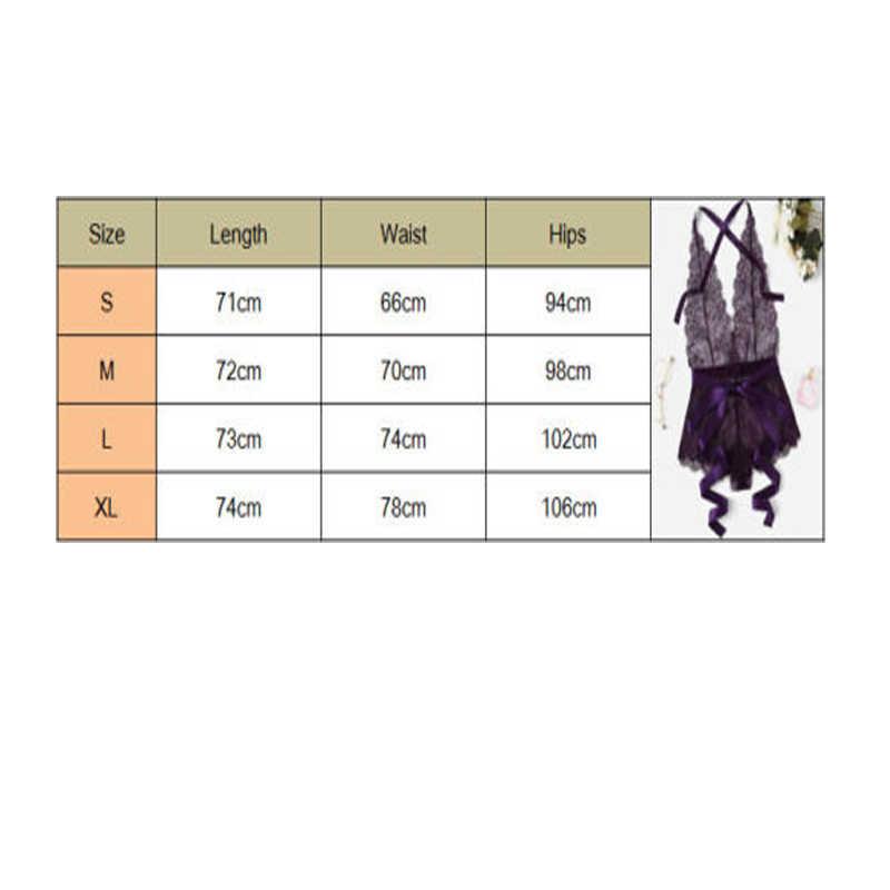 섹시한 뜨거운 여성 레이스 꽃 원피스 점프 슈트 v 넥 란제리 에로틱 한 테디 바디 슈트 플러스 XL 사이즈 의상 보라색