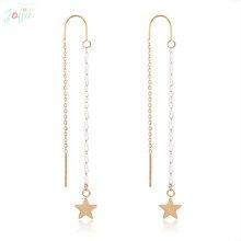 Badu Golden Stainless Steel Earring Little Star Pendant Dangle Drop Earrings for Wedding Engagement Jewelry Gift Wholesale