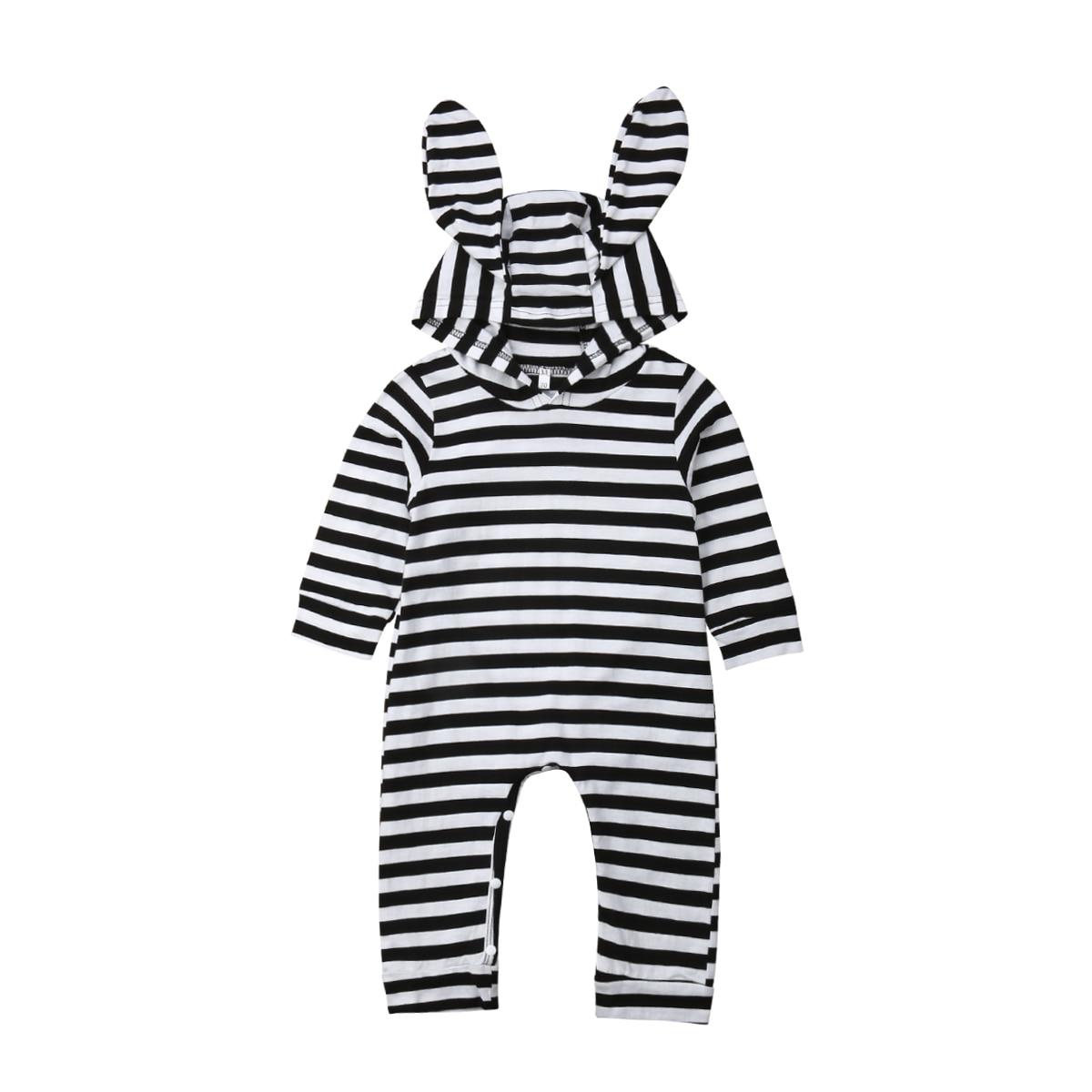 0-24 M Casual Neugeborenen Baby Junge Mädchen Langarm Bunny Ohr Mit Kapuze Gestreift Romper Overall Overall Outfits Baby Kleidung Gut Verkaufen Auf Der Ganzen Welt