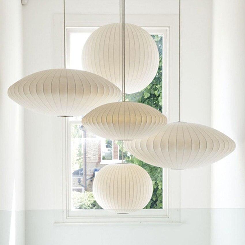 Post-Modern White Silk Led Pendant Lights Restaurant Bedroom Suspension Hanging Lamp Art Single Head Lamp Pendant Lighting
