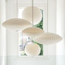 Post-Modern White Silk Led Pendant Lights Restaurant Bedroom Suspension Hanging Lamp Art Single Head Lamp Pendant Lighting цена 2017