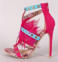 New Arrivals Pink Snake Leather Feather Women Sandals Cut-out Buckle Strap Studded Gladiator Hollow Dress Shoes