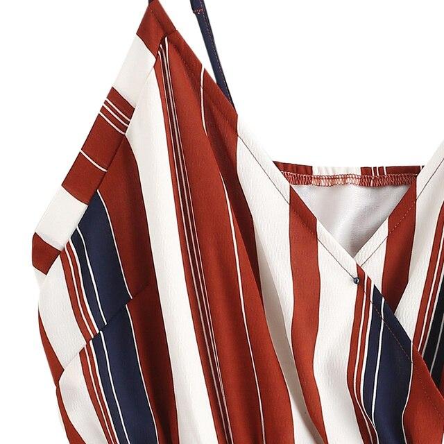 ZAFUL Women Bodysuits Stripes Cami Smocked Waist Romper Sexy Streetwear Vintage Playsuits Women Clothes 2019 Summer 2