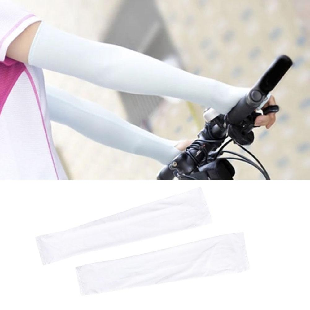 Womens Summer Mitten Long Sunscreen Gloves Unisex Electric Bicycle Arm Sleeve Anti-UV Semi-Finger Breathable Gloves White