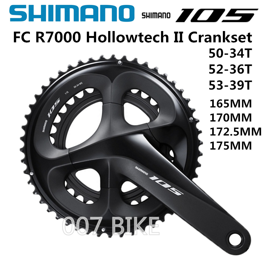 Shimano 105 FC-R7000 2x11 Speed 50//34T 165mm Crankset Silver Without BB