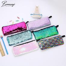 Stationery Pencil-Case Reversible School-Tools Gift Cute Sequin Colorful