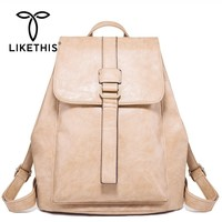 LIKETHIS Student Backpack Leather Women Ladies Bag 2019 Solid Large Capacity Rucksack Cover Mochilas Escolares Para Adolescentes