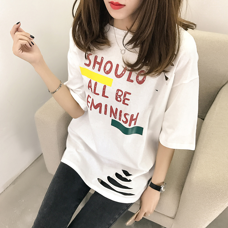 XL- 4XL 2019 new plus size summer loose High Street hole Letter print short sleeve O-Neck women T-shirt top tee TY5 5
