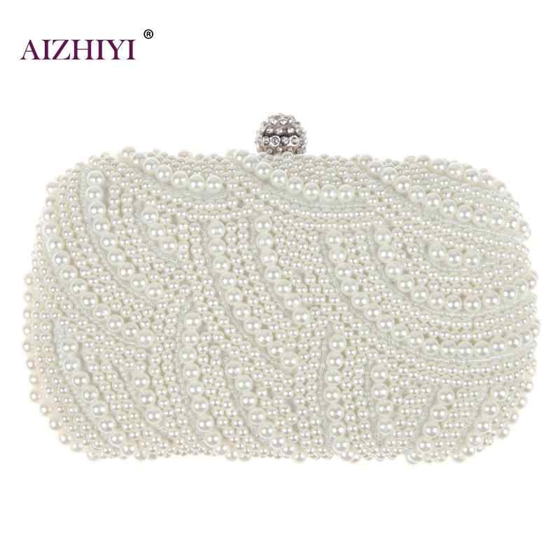 Fashion Luxe Crystal Pearl White Evening Clutch Bags Vrouwen Elegante Minaudiere Handtas Wedding Party Lady Purse Bag Hot Selling
