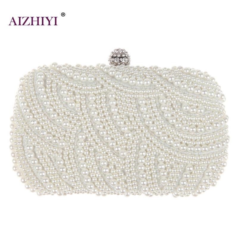 Fashion Luxury Crystal Pearl White Evening Clutch Bags Women Elegant Minaudiere Handbag Wedding Party Lady Purse Bag Hot Selling