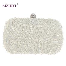 Fashion Luxury Crystal Pearl White Evening Clutch Bags Women
