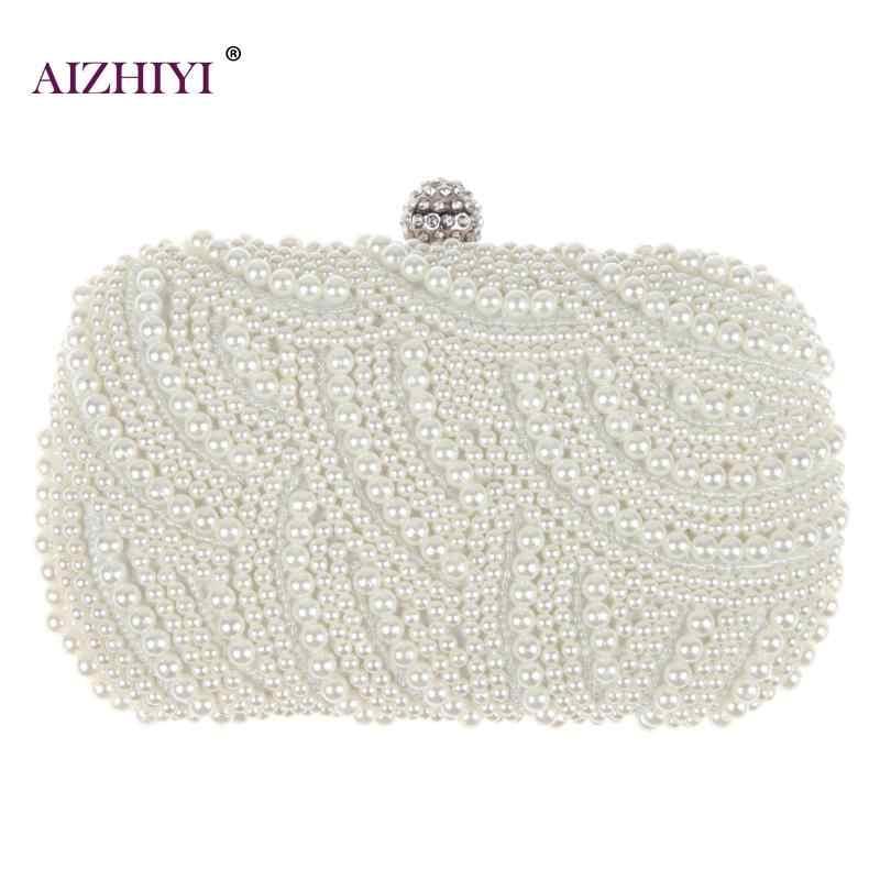 Mewah Crystal Pearl White Clutch Malam Wanita Elegan Minaudiere Casing Pesta Pernikahan Wanita Dompet Tas Jual Panas