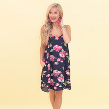 d22db0da7147 La MaxZa для женщин Спагетти ремень V образным вырезом цветочный принт  платье Boho пляж повседневное красивые летние платья и са.