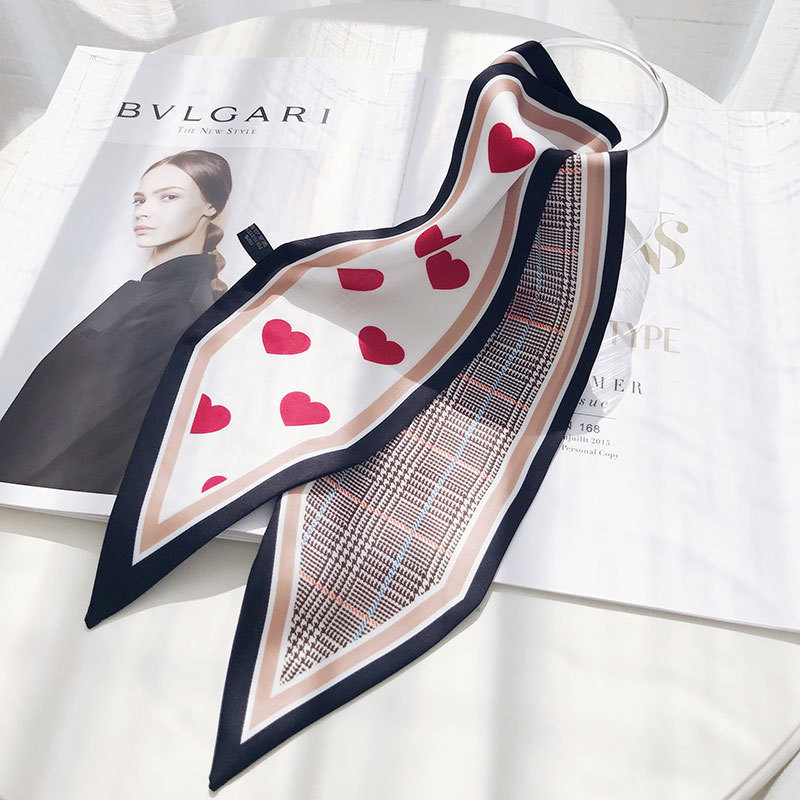 Bright Luxury Brand 2019 New Bag Scarf Red Heart Love Plaid Print Women Silk Small Bag Ribbon Female Hair Ribbon Handbag Scarves