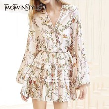 TWOTWINSTYLE Print Flowers Jumpsuit Female Long Sleeve V Neck Lace Up Ruffled Playsuits Fashion Women s