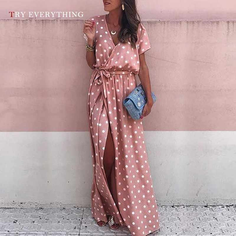 Pink Maxi Beach Dress Women Summer 2019 Warp Polka Dot Casual Dress Plus Size Ladies Short Sleeve Split Long Dress For Women 3XL