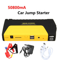 50800mAh 12V LED Dual USB arrancador de batería de coche de refuerzo portátil cargador de respaldo de Banco de energía de emergencia de arrancador de batería de coche|Arrancador con cables| |  -