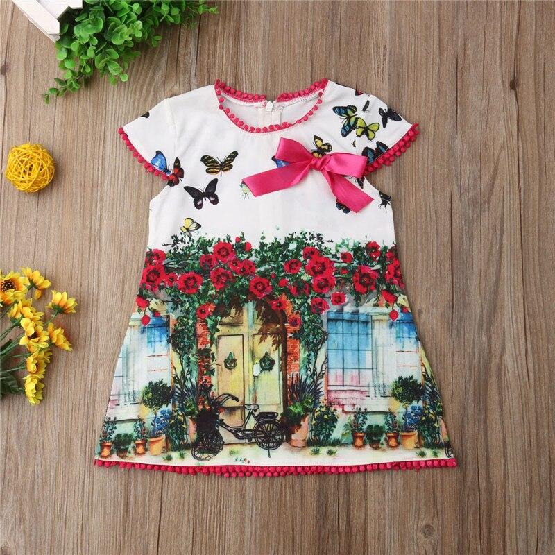 Летнее Детское Повседневное платье для девочек с рисунком бабочки, платье с рукавами-крылышками и бантом, летний сарафан, одежда