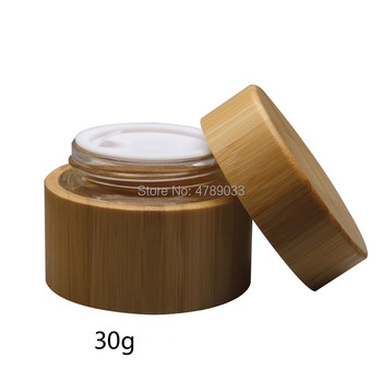 30g Glass Cream Jar with Bamboo Shell Makeup Skin Care Lotion Pot Cosmetic Container Packaging Bottles 10pcs
