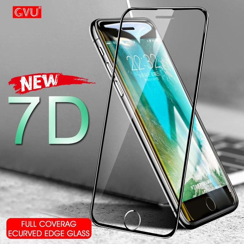 7D מלא כיסוי מעוקל מזג זכוכית על עבור iphone 7 6 6 S 8 בתוספת X XS מסך מגן מגן עבור iphone 6 6 S 7 8 זכוכית