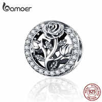 BAMOER Round Metal Charms 925 Stering Silver Rose Flower Beads for Women Jewelry Making Charm Bracelet Accessories SCC1189