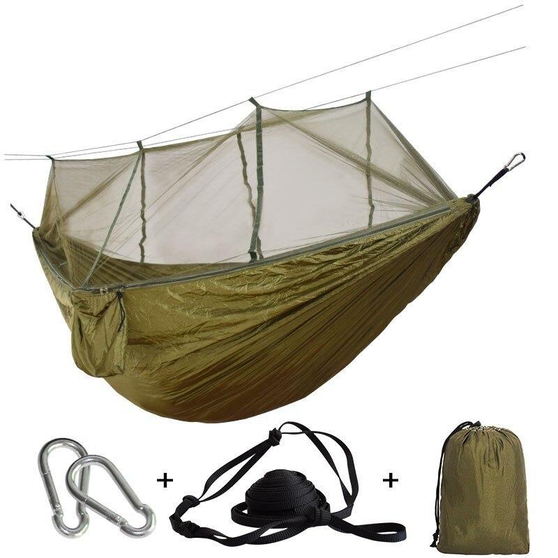 Rede de viagem ultraleve com rede mosquito integrado durável portátil hamak pendurado cadeira rede respirável pendurar cama