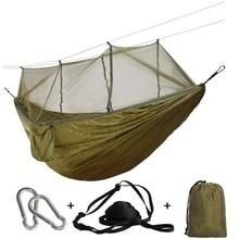 Rede de viagem ultraleve com mosquiteiro integrado, rede portátil pendurada em cadeira com rede respirável para pendurar cama